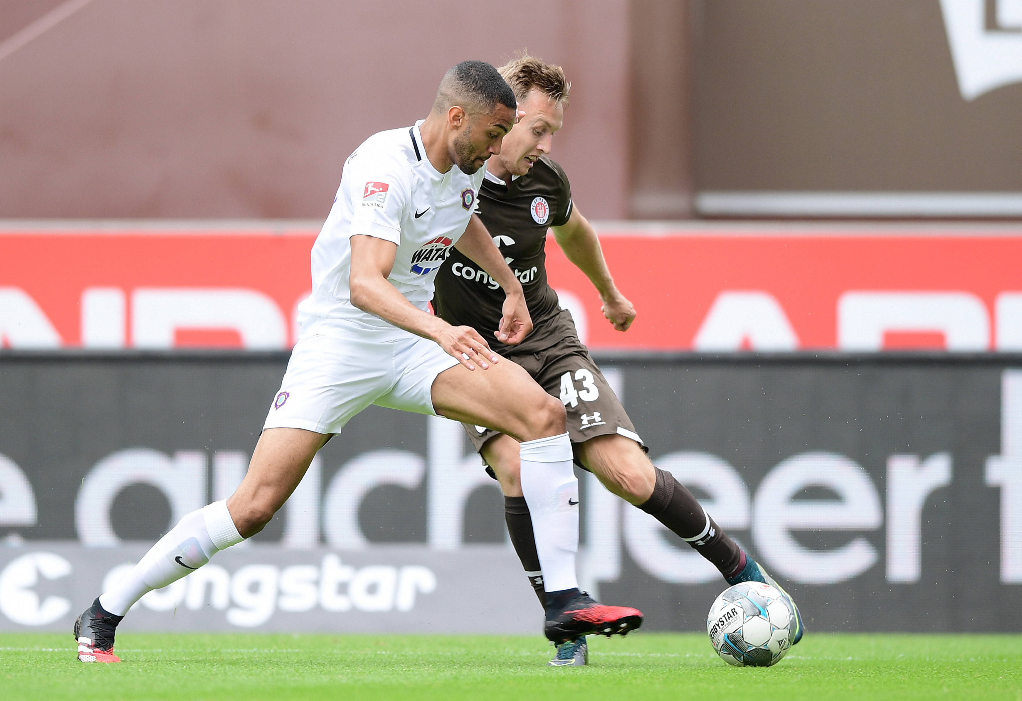 In the 2-1 home defeat of Erzgebirge Aue, Sebastian Ohlsson, seen here under challenge from Malcolm Cacutalua, made the opening goal for Dimitrios Diamantakos. It was his only assist last season.